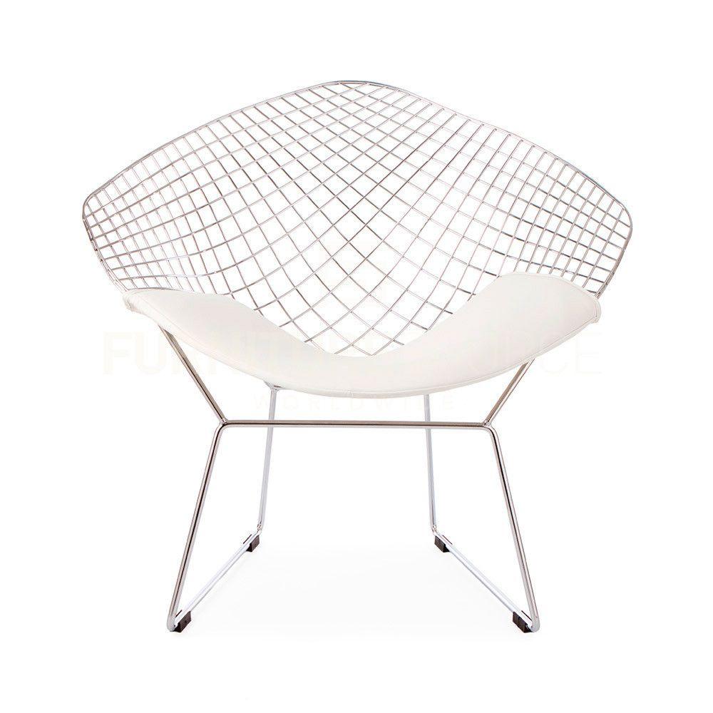 Harry bertoia style wire diamond chair white pad harry bertoia
