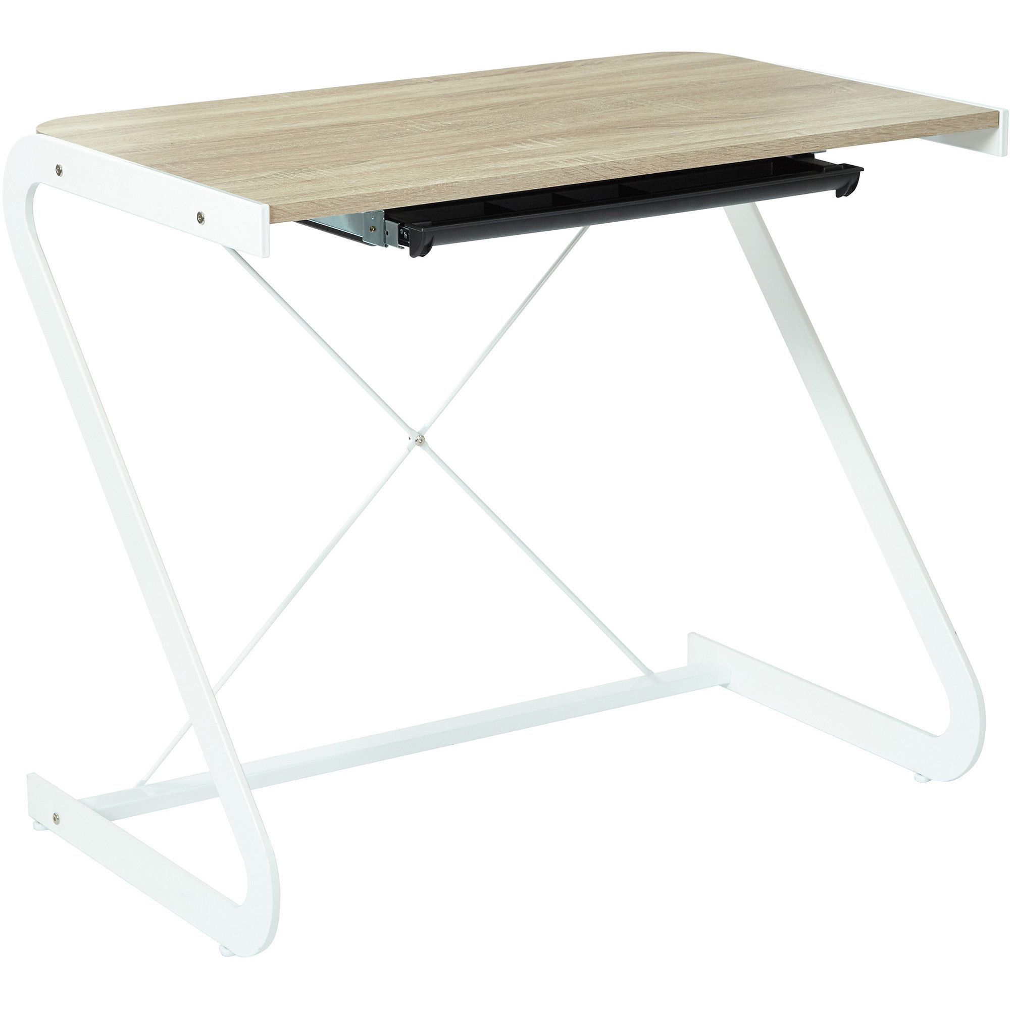 OSP Clark Writing Desk with Pull Out Storage Drawer, Light Driftwood