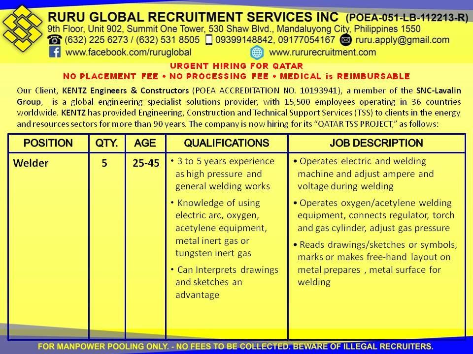 Kentz Qatar Hiring for Oil \ Gas Petrochemical Plant Visit us at - welder job description