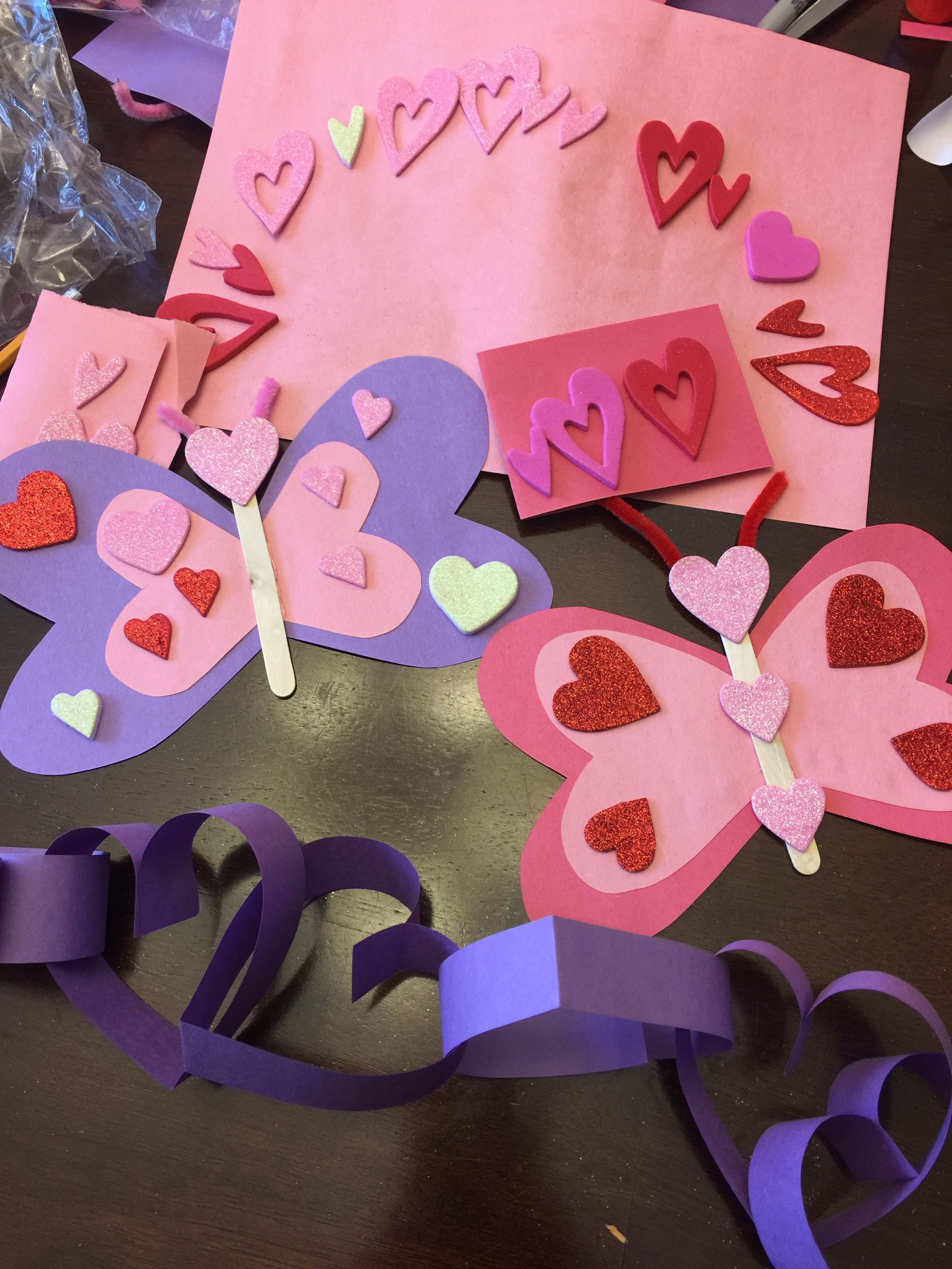 Valentine S Day Crafts Construction Paper Sticker Hearts Popsicle