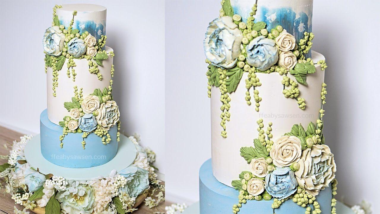 Blue peony buttercream wedding cake tutorial american
