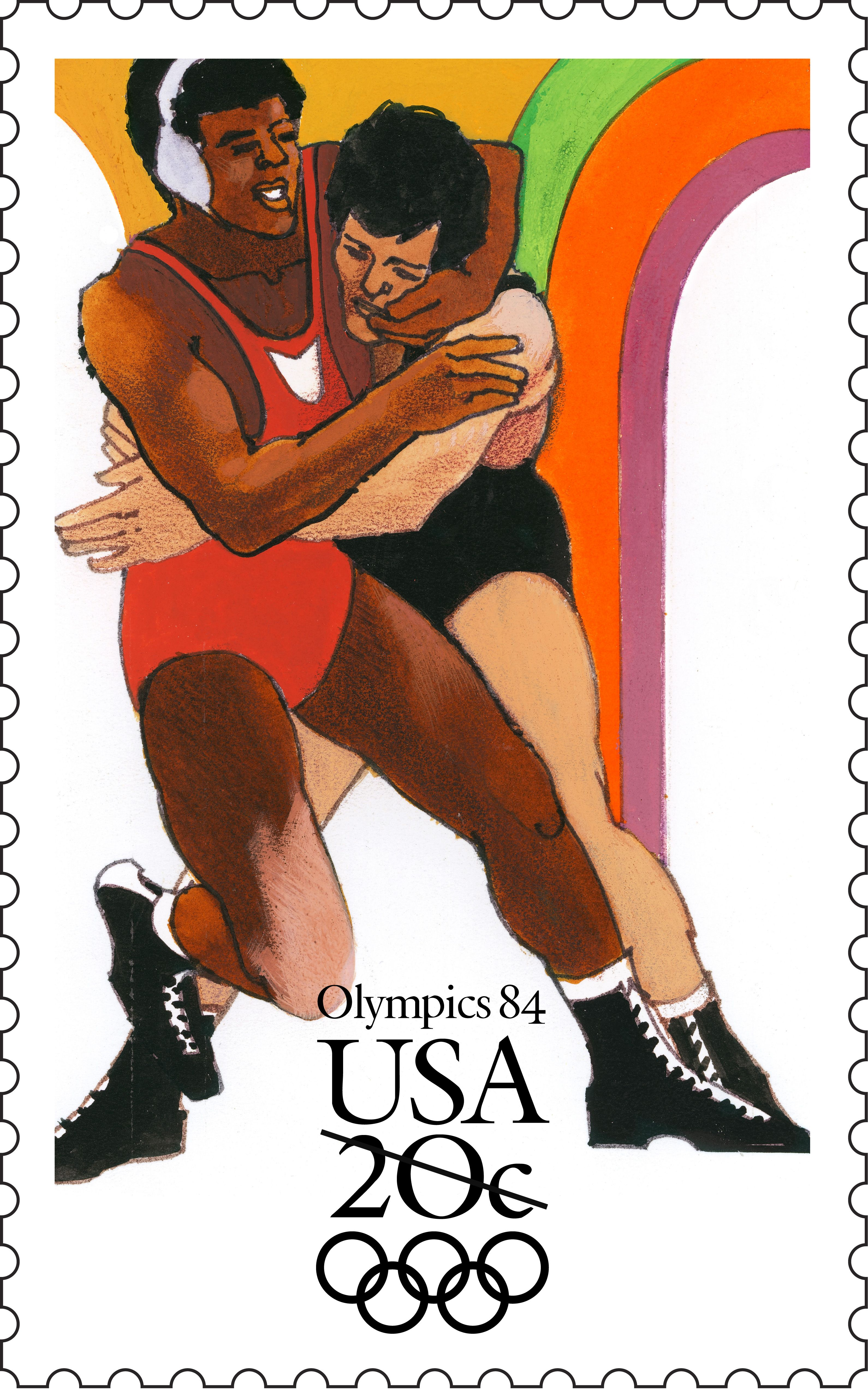 The Wrestling Stamp Was Part Of A Set Of Four Stamps Commemorating The 1984 Summer Olympics In Los Angeles Cali Postage Stamps Usa Usa Stamps Stamp Collecting