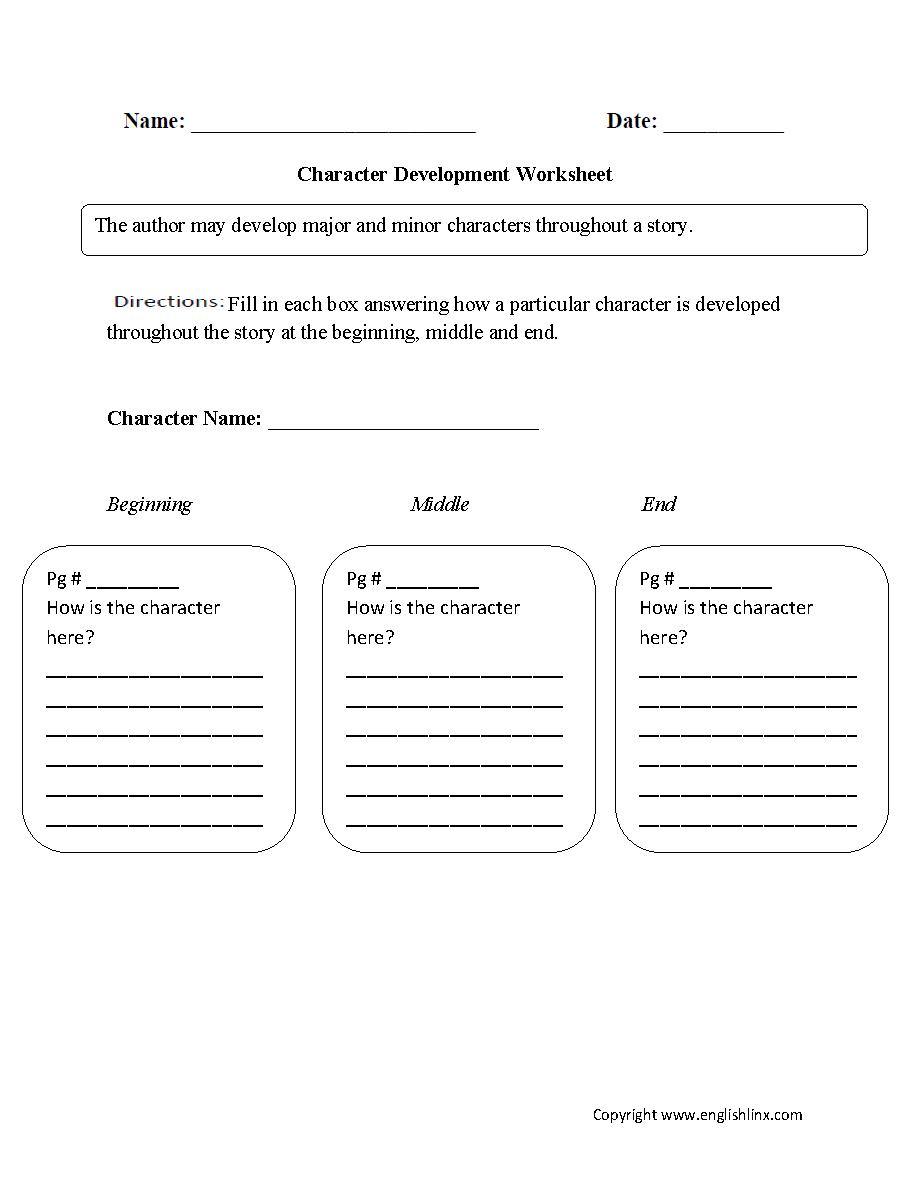 Single Character Development Character Analysis Worksheet