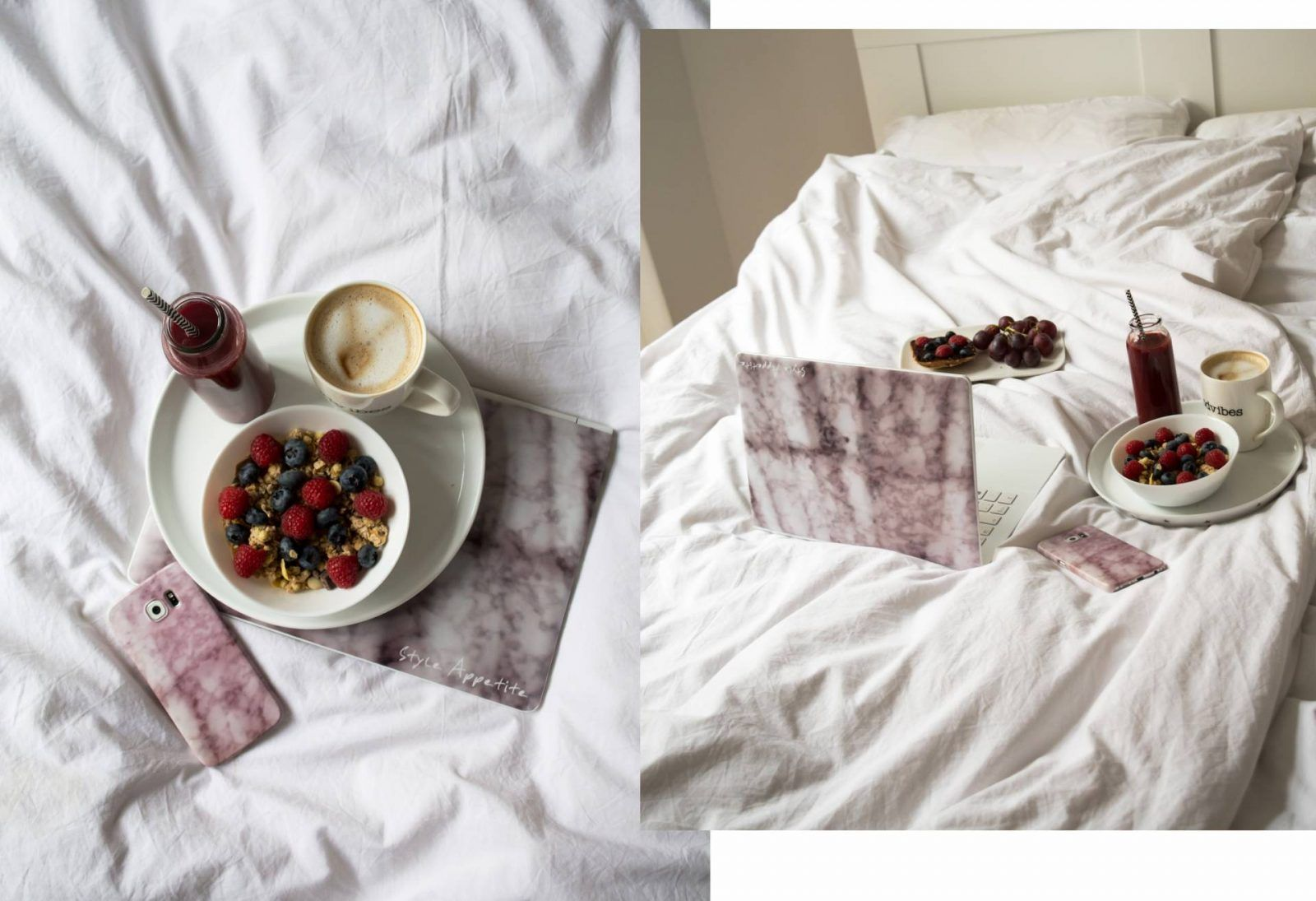 Breakfast in Bed  #interior #home with #marble #decor # marmor #caseapp #breakfastinbed # breakfast #smoothie #coffee