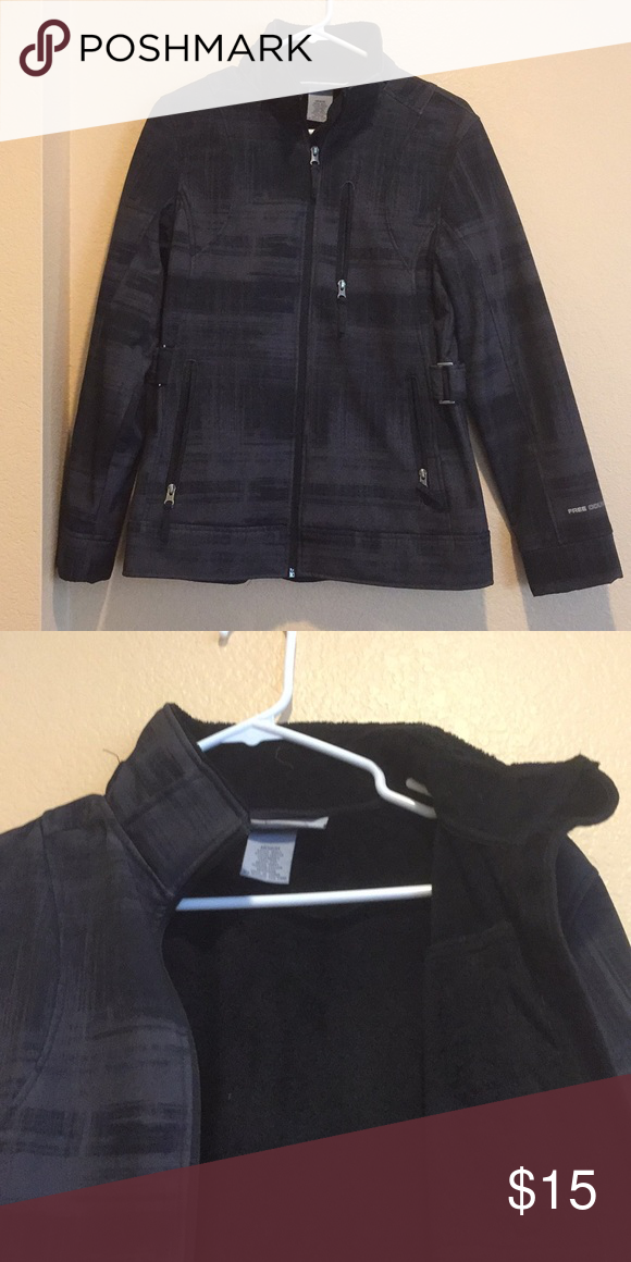 Free Country Brand Black And Gray Winter Jacket With Three Front Pockets Two Inner