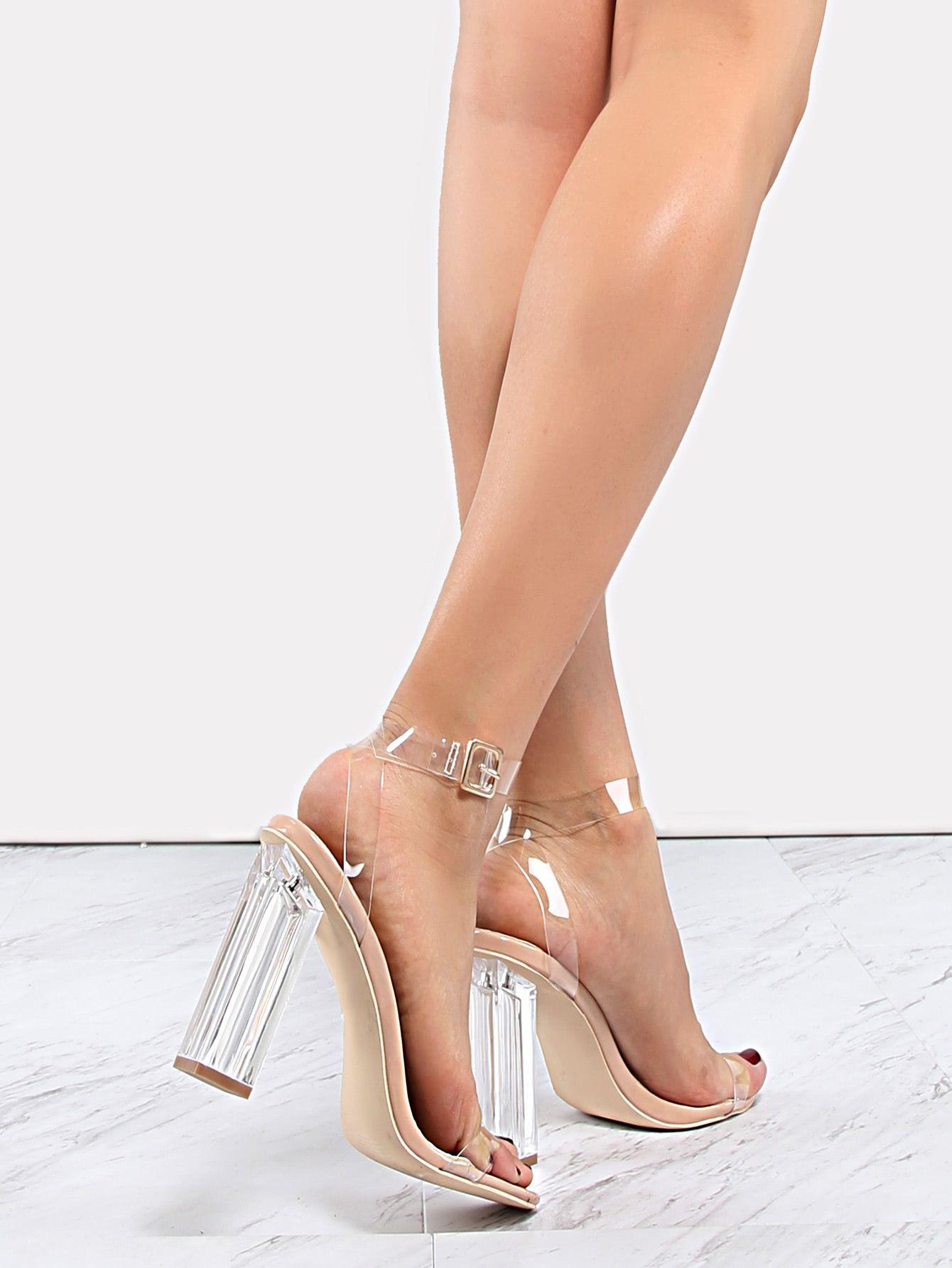 b84417772d02 Zapatos de tacón transparente con tiras-Spanish SheIn(Sheinside ...