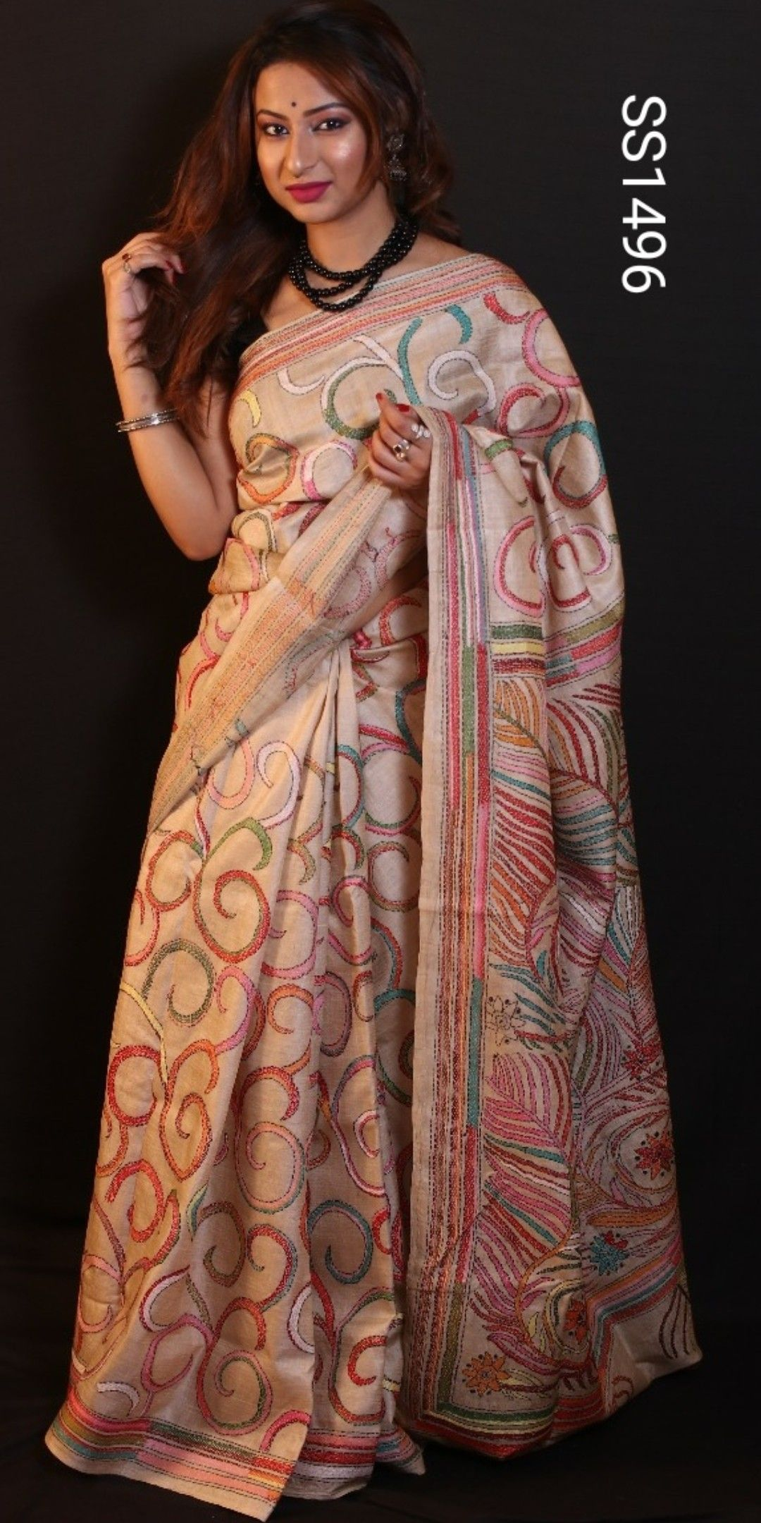 ecab5d1470 Best Quality handmade kantha Embroidery on gachi by gachi tussar Silk  saree. Blouse : yes (Running blouse ,embroidery work on hands only ) Price  - 8200 + ...