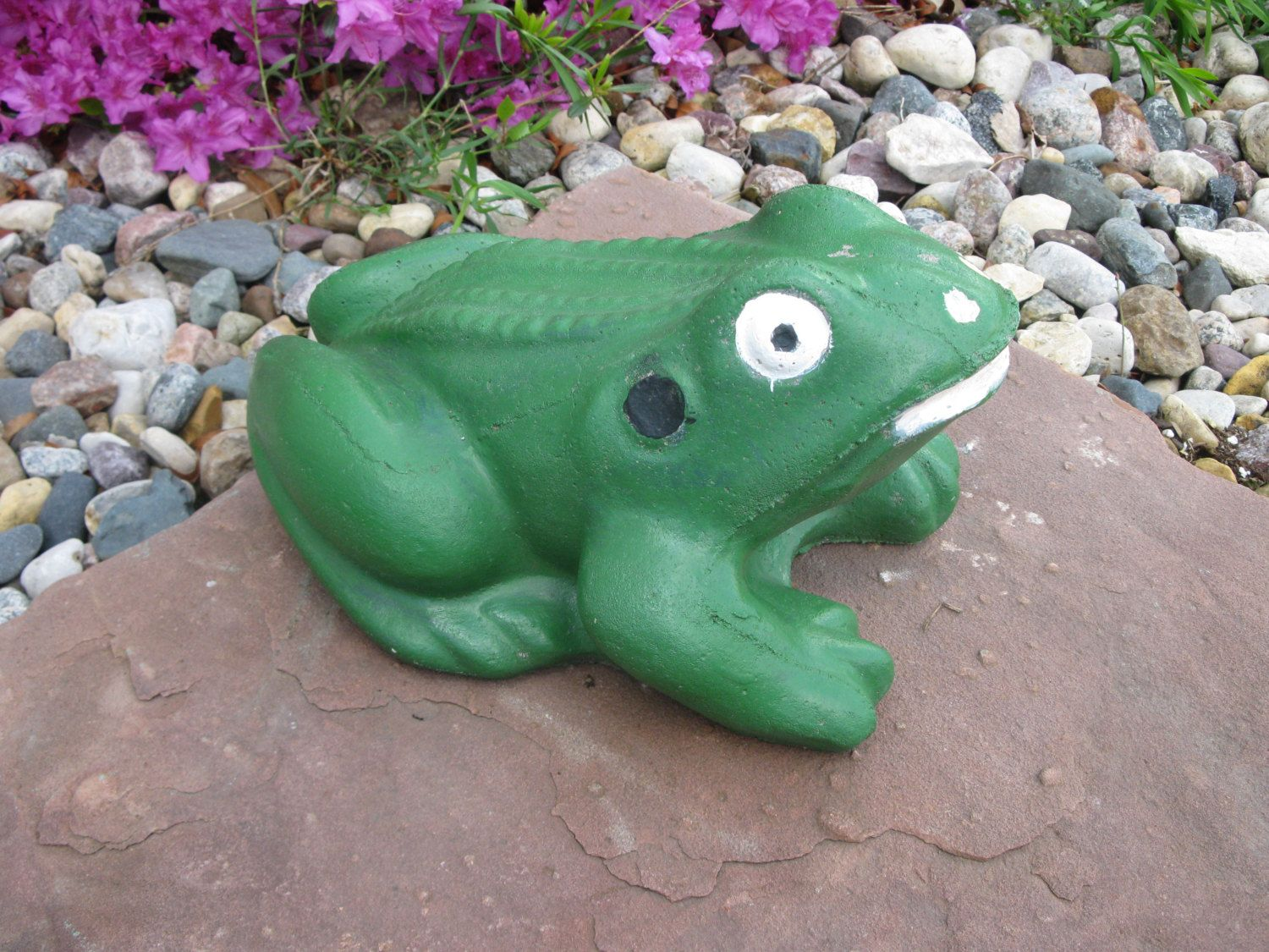 LARGE CEMENT FROG- garden decor -door stop - lawn decor - lawn ...