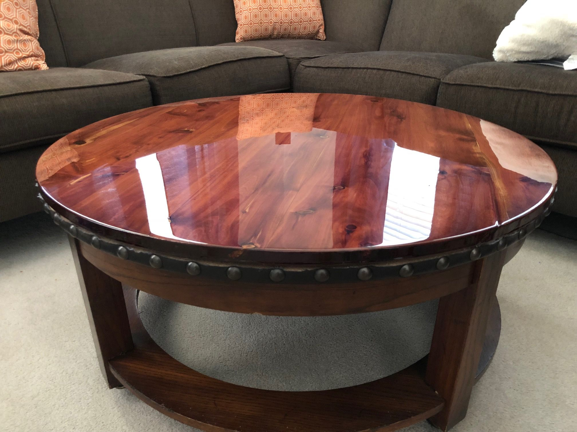Round Rolling Western Cedar Footstool Coffee Table 36 Diameter Supremely Glossy Epoxy Finish And Bea Footstool Coffee Table Hand Crafted Furniture Furniture [ jpg ]