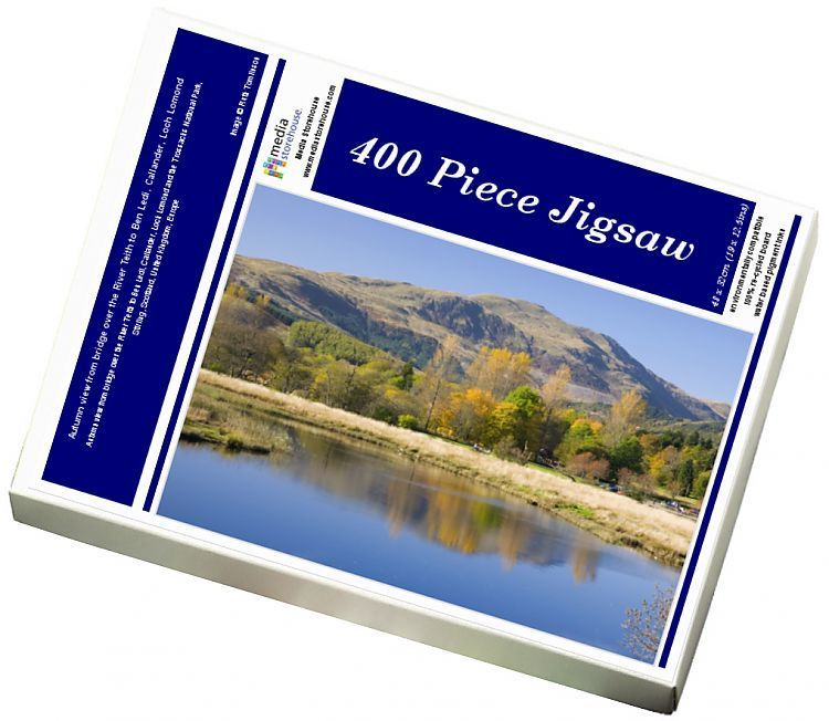Jigsaw Puzzle-Autumn view from bridge over the River Teith to Ben Ledi, Callander, Loch Lomond-400 Piece Jigsaw Puzzle made to order in the UK