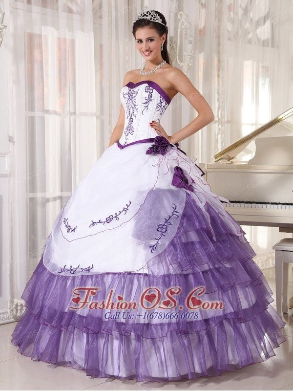 c89df37da04 Affordable White and Purple Quinceanera Dress Sweetheart Satin and Organza  Embroidery Ball Gown