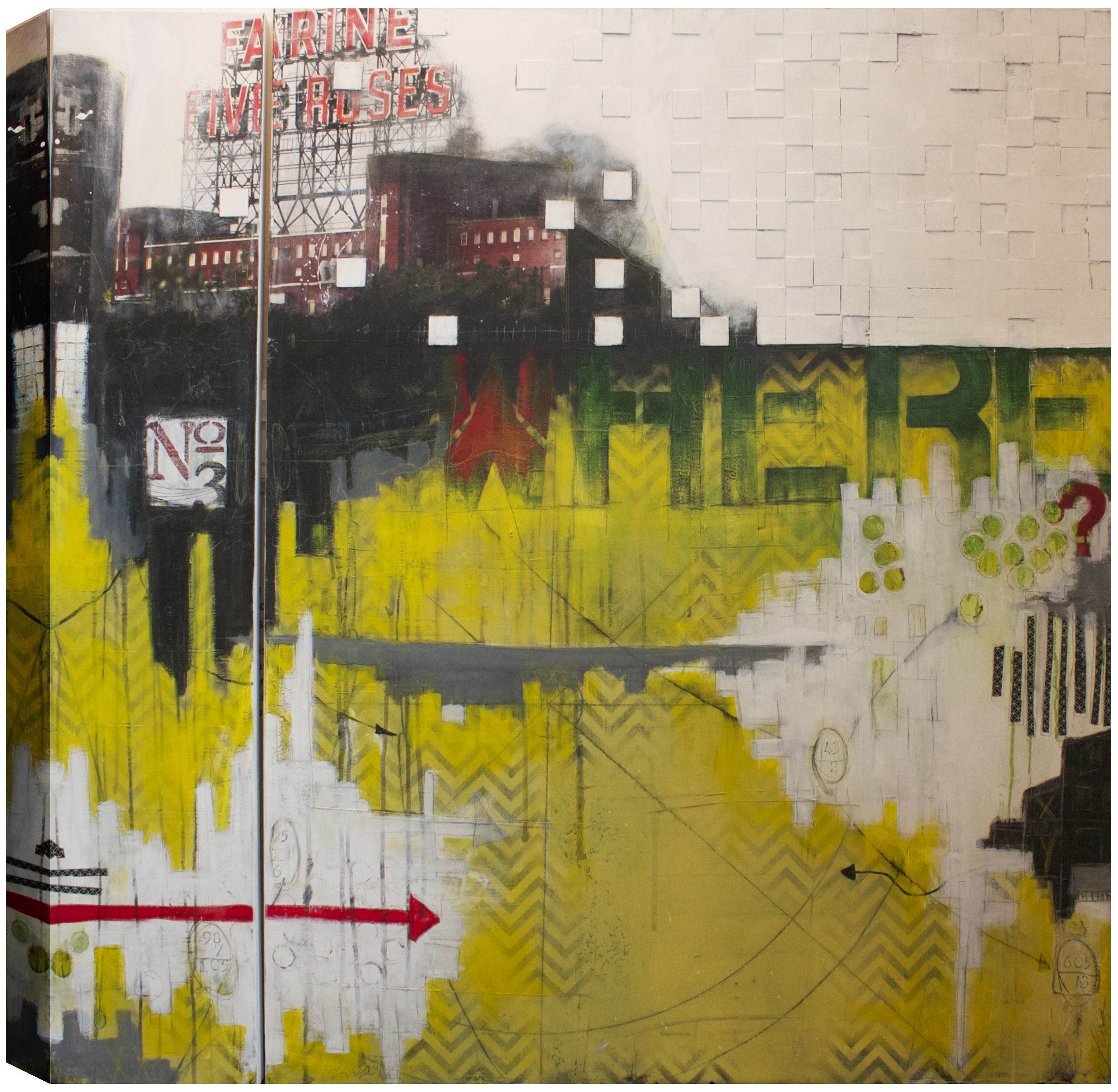Where? Here!, Abstract, Hand Applied Gel Brush Finish Canvas Wall ...