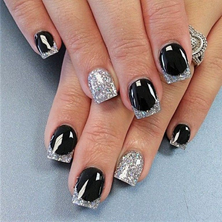 Black French Tip Nail Designs | easy nail designs black and silver ...