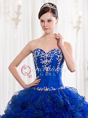 royal blue ruffled sweetheart corset organza long