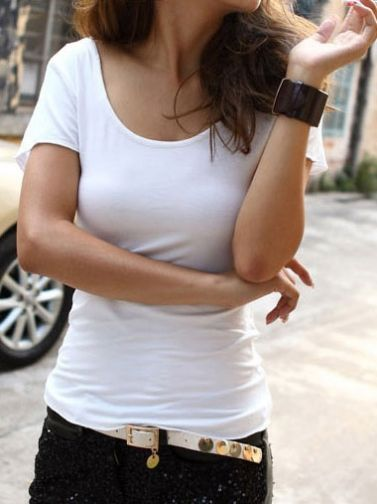 Back Hollow Slim Short Sleeve Pure Color Cotton T-Shirts White on buytrends.com