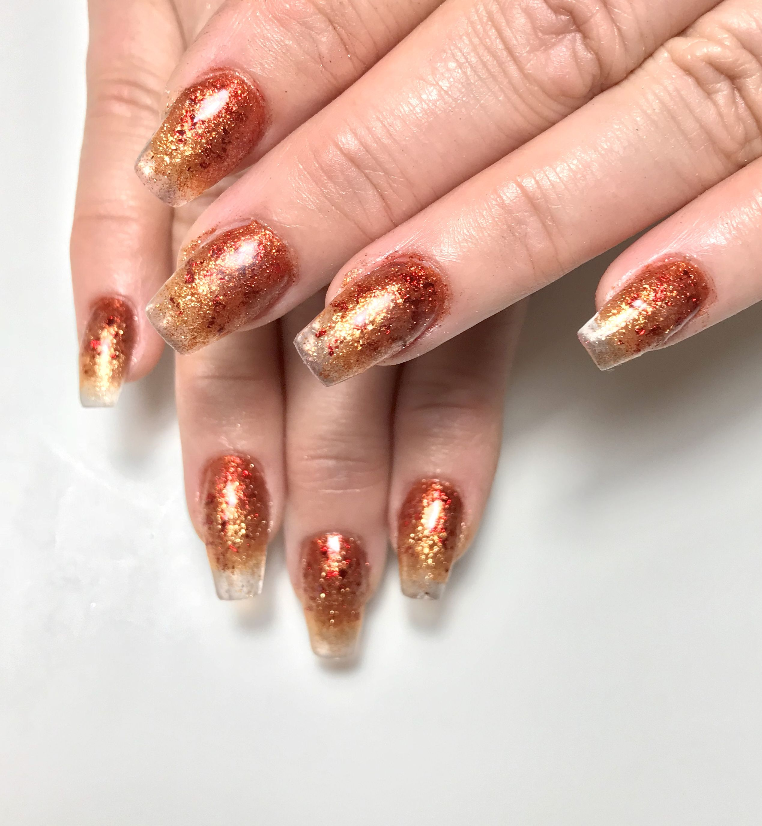 Taupe Bronze Gold Ombre Coffin Nails Brown Nail Designs Nailsstock Brown Nails Design Casket Nails Fall Nail Designs