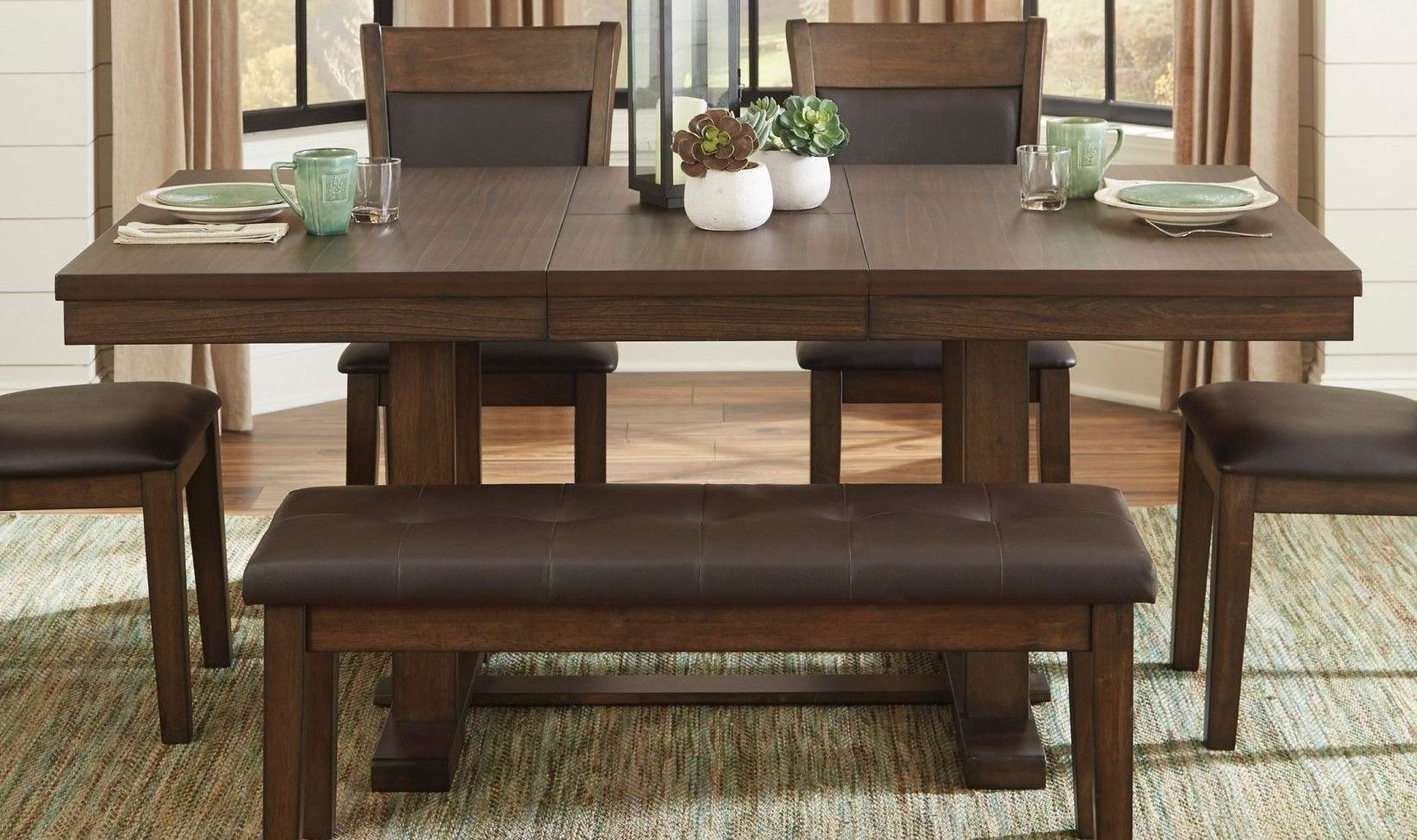 Homelegance Wieland Transitional Wood Extendable Dining Table
