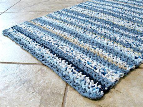 Rectangle Crochet Rag Rug Bath Mat Textured Striped