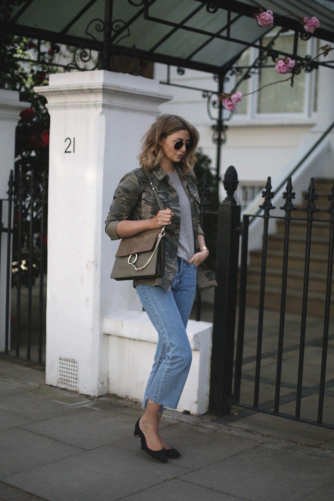 Emma Hill Wears Camouflage Jacket Grey Linen T Shirt Khaki Chloe Hem Faye Bag Cropped Frayed Light Wash Jeans Dune X Rupert Sanderson Low Block Heels