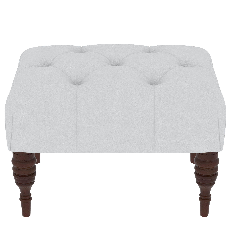 Skyline furniture solid velvet fabric pine tufted ottoman velvet white