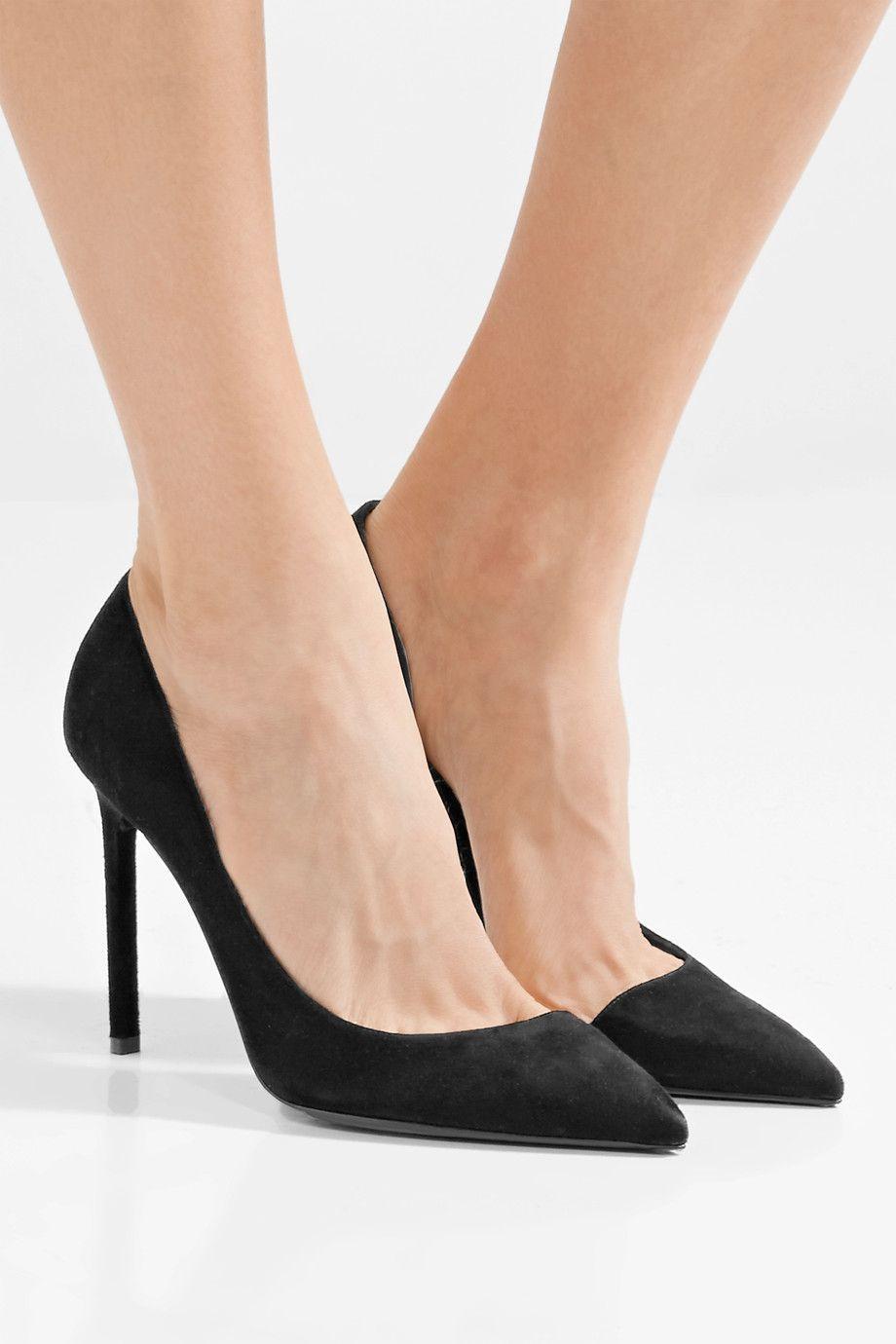 Saint Laurent Black Suede Anja Heels