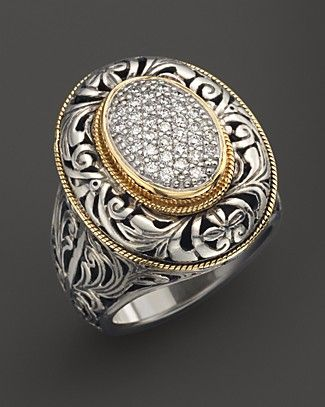 konstantino silver with 18kt gold pave diamond ring