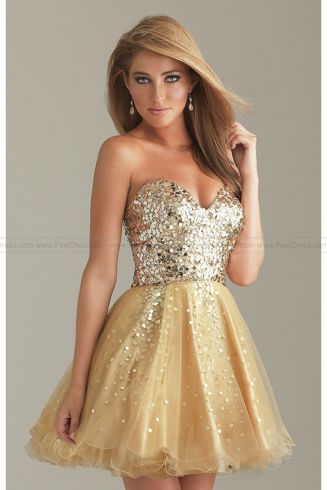 Short Gold Dress By Night Moves | Cocktail Dresses | Pinterest