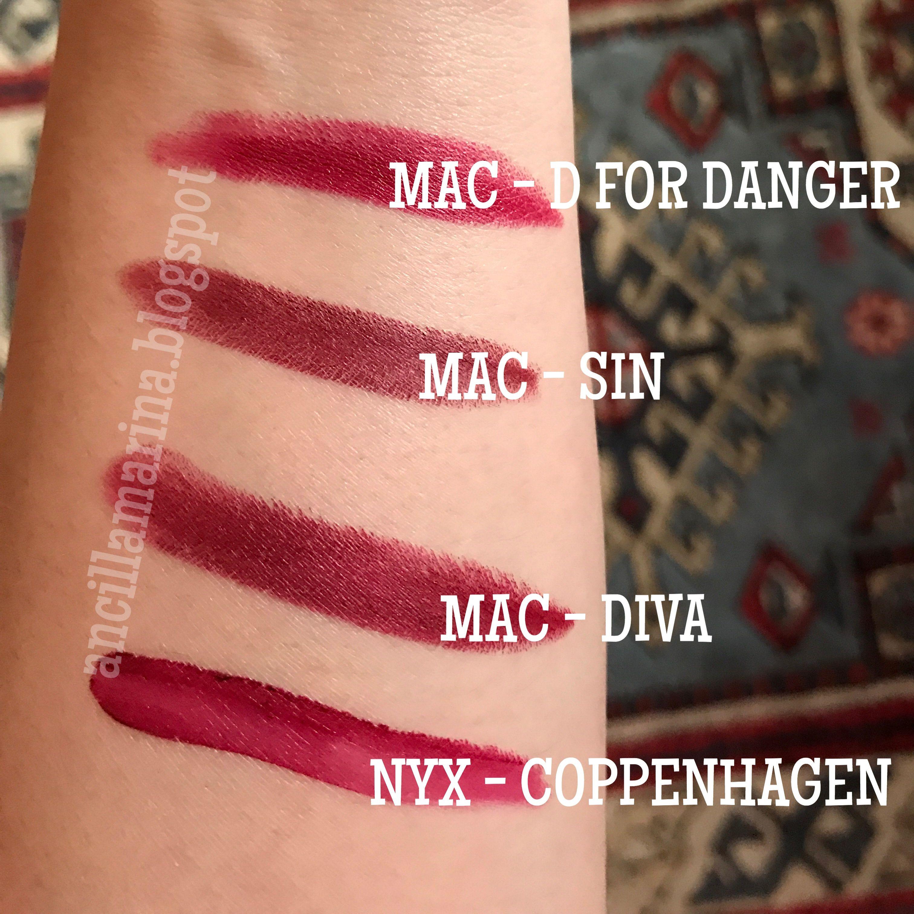 MAC D for Danger vs MAC Sin vs MAC Diva vs NYX Coppenhagen ...