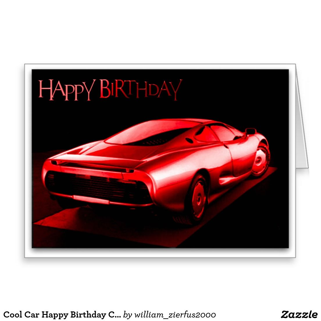 Cool Car Happy Birthday Card