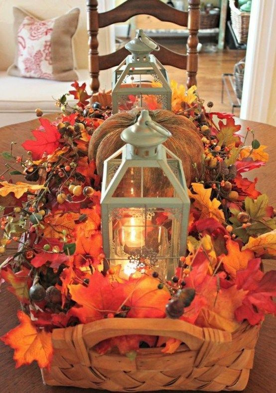 50 Beautiful Leaf Centerpieces Thanksgiving Decor Ideas #diyfalldecor
