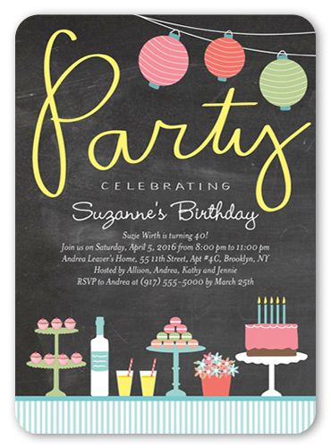 Birthday Invitations Delicious Delight Rounded Corners Grey