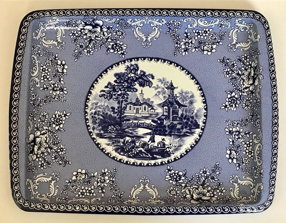 Daher Decorated Ware Blue Willow Metal Tray 8 X 6 Made In England