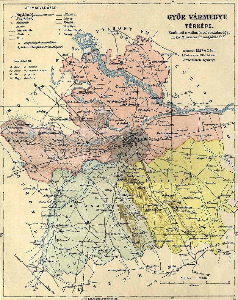 Gyor Varmegye Kozigazgatasi Terkepe 1910 Bol Terkep Pozsony Varos