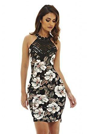 2b13d5c76d Black Floral Print Racerback Bodycon Mini Dress | All Fashion ...