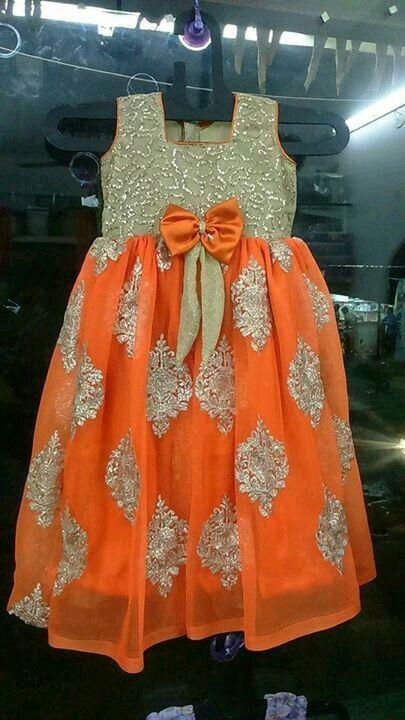 55d2af893d867 Baby Girl Dresses · Beautiful Orange and Gold Dress Kids Indian Wear, Kids  Ethnic Wear, Kids Dress Wear