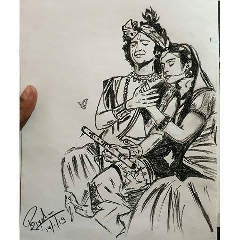 Radhakrishna Pencil Sketch Pencil Art Love Krishna Drawing Radha Krishna Art
