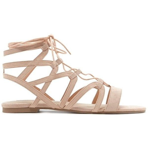 Forever21 Faux Suede Lace-Up Sandals (65 BRL) ❤ liked on Polyvore featuring shoes, sandals, strappy lace up sandals, strappy flats, t-strap flats, cut-out flats and strappy sandals