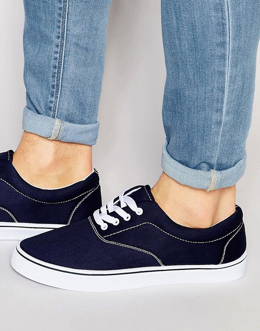 Image 1 ofASOS Lace Up Plimsolls in Navy