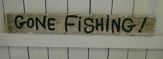 Gone Fishing Signs Decor Distressed Shabby Gone Fishing Beach Cottage Indoor Outdoor Wood