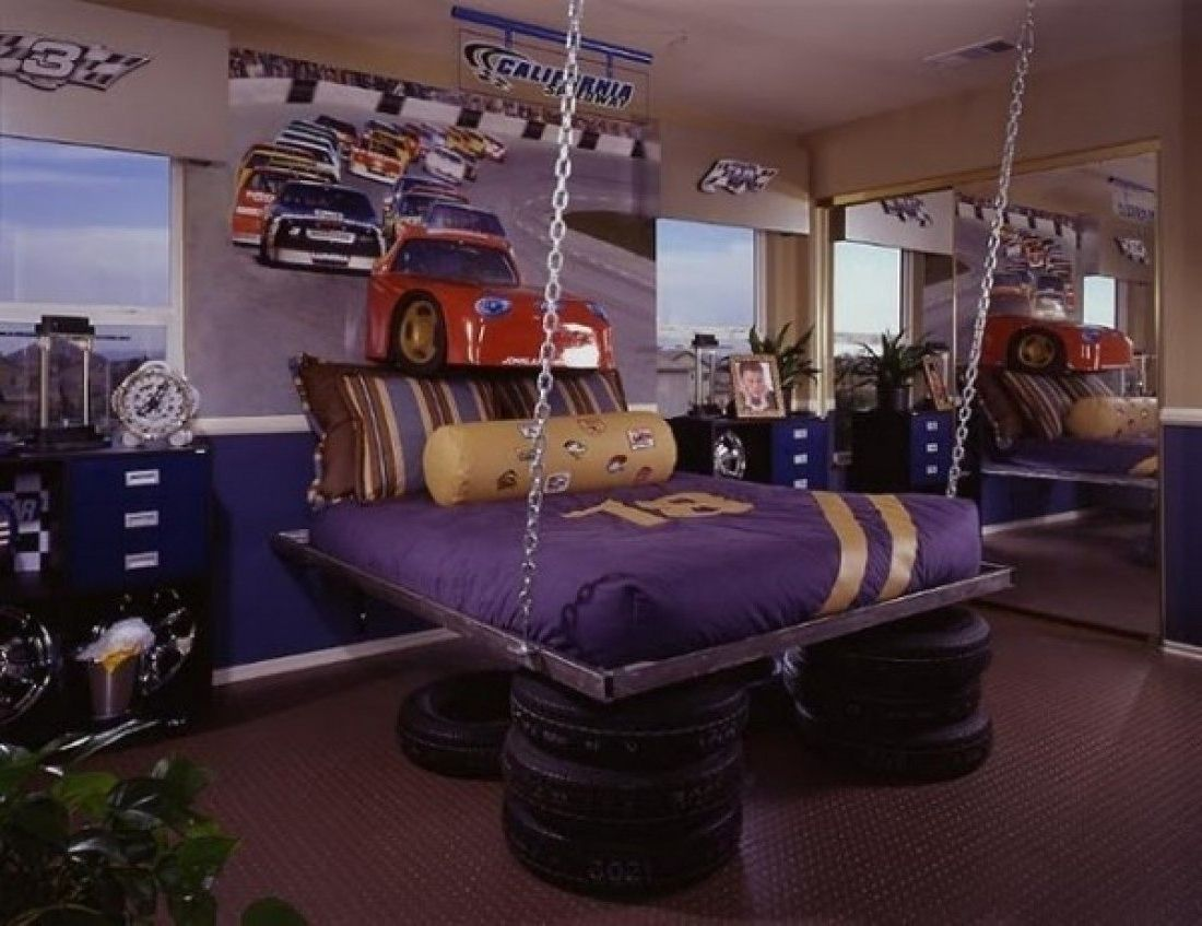Unique Teenage Bedroom For Boys With Car Racing Theme Idea Kids