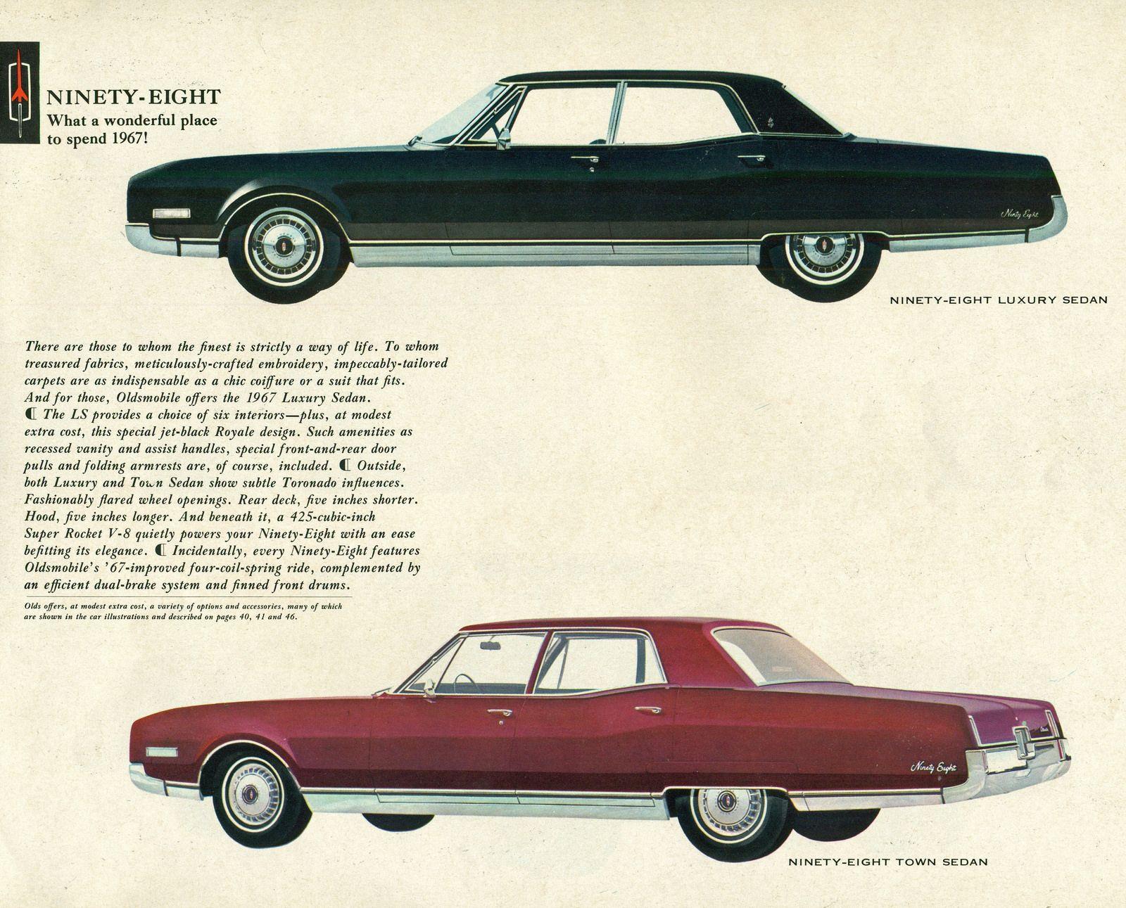 1967 Oldsmobile Ninety Eight Holiday Luxury Sedan And Holiday Sedan Oldsmobile Car Brochure Car Advertising