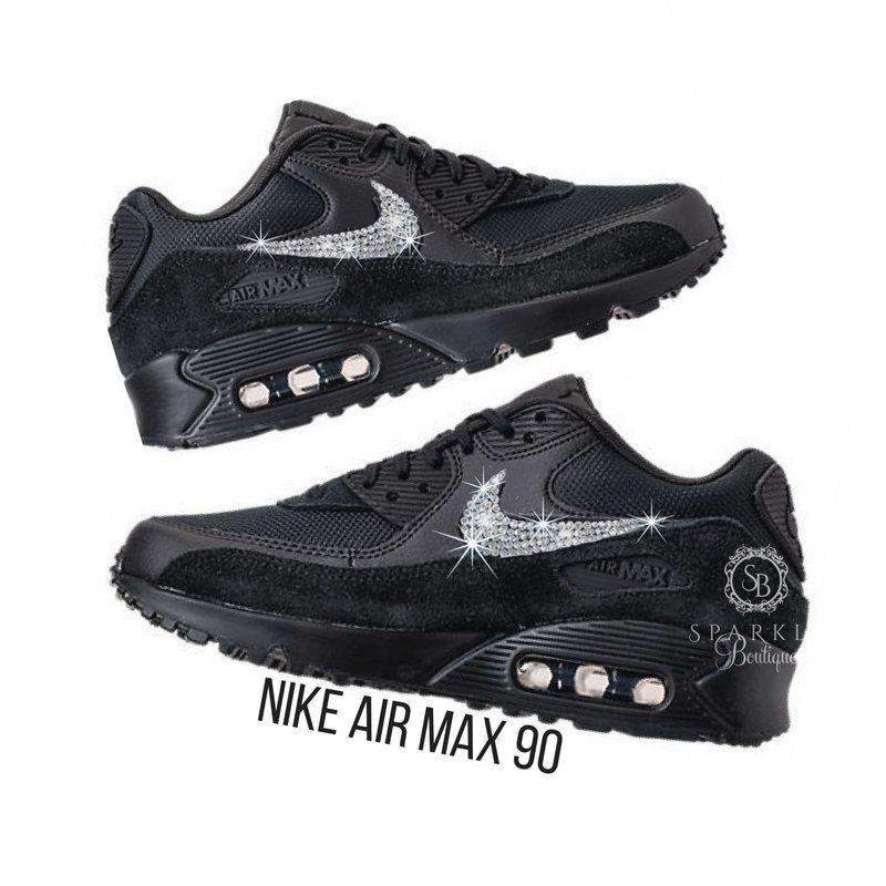 Nike Air Max 90 - Swarovski Nike - BLING Nike - Bedazzled - BLACK - Sparkly  Nike - Bedazzled - Nike Bling - SparkleBoutique2U by SparkleBoutique2U on  Etsy 728b7c720