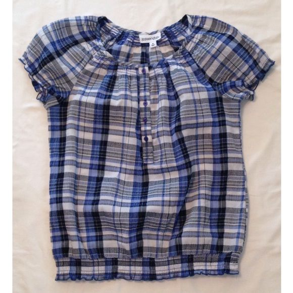 SOLD: Lightweight blue plaid top Worn twice. Lightweight. Has elastic in the arm bands and on the bottom. Great condition! St. John's Bay Tops Blouses