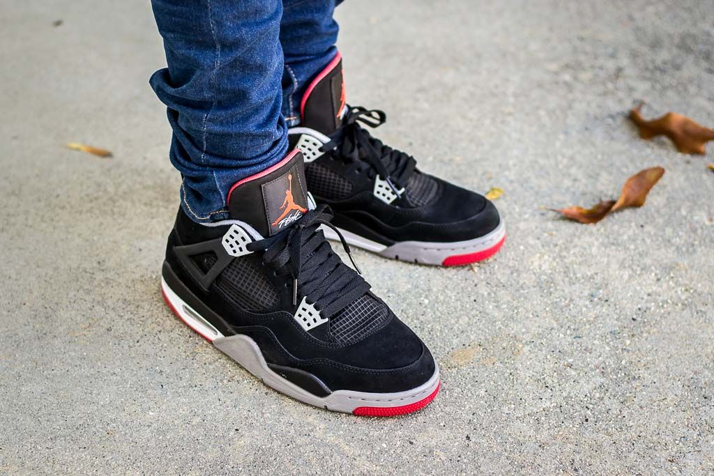 Air Jordan 4 Bred Black Red On Foot Sneaker Review With