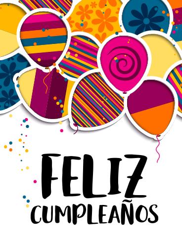 Happy Birthday Balloon Card In Spanish