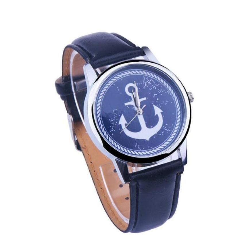 $0.56 (Buy here: http://appdeal.ru/4jry ) Creative Elegant Anchor Sailor Watch Women Charming Faux Leather Band Analog Quartz Watch Fashion Vogue Watches relogio feminino for just $0.56