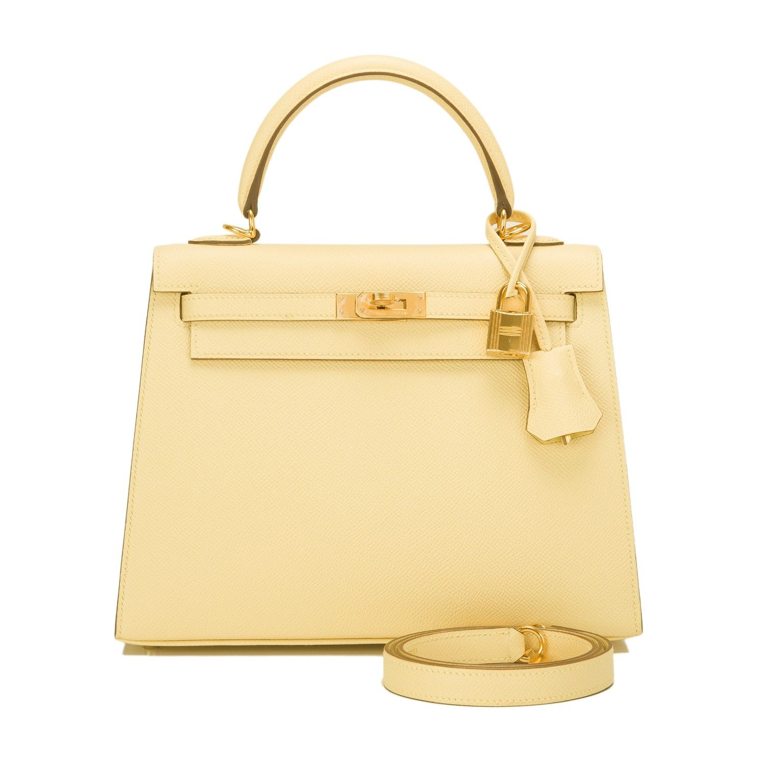Hermes Jaune Poussin Epsom Sellier Kelly 25cm Gold Hardware - Hermes Jaune Poussin Sellier Kelly 25cm in epsom leather with gold hardware.  The bag features tonal stitching, front toggle closure, clochette with lock and two keys, single rolled handle and optional shoulder strap.  The Interior is lined in Jaune Poussin chevre and features one zip pocket with Hermes engraved pull and two open pockets on opposite side.  Collection: T  Origin: France  Condition: Pristine; never carrie...