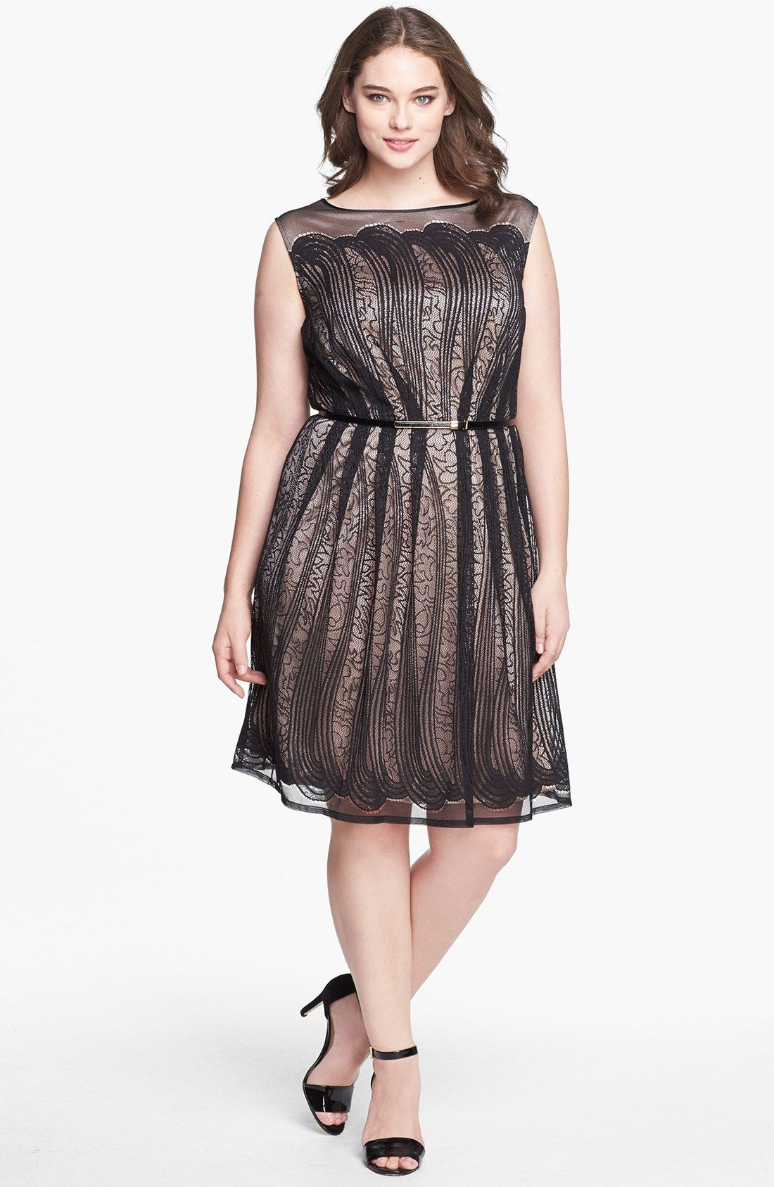 Adrianna papell lace fit flare dress plus size plus