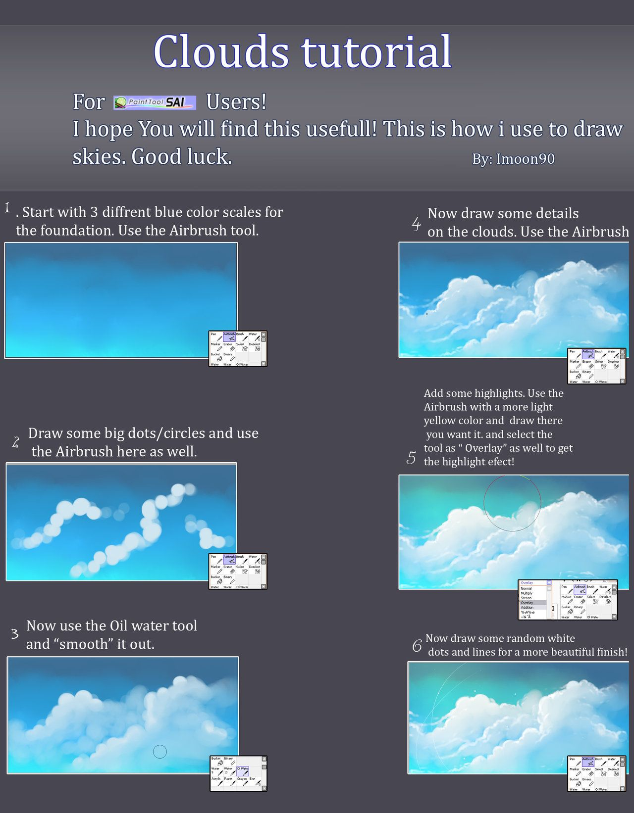 Clouds Tutorial By Imoon90 On Deviantart Cloud Tutorial Digital Painting Tutorials Painting Tutorial