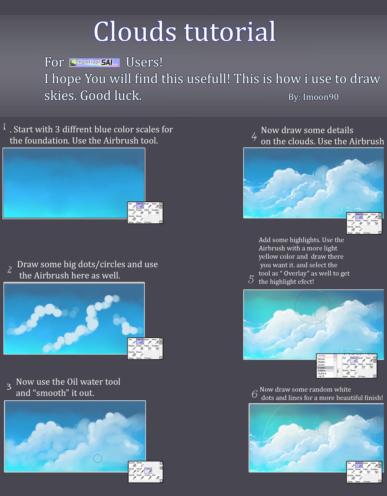 Clouds tutorial by imoon90 cloud tutorial digital